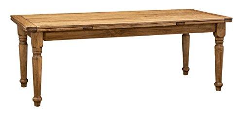 Biscottini Table Extensible en Bois Massif de Tilleul – Style Country – Style Shabby – Structure et Plateau Naturel Vieilli L 220 x P 100 x H 80 cm