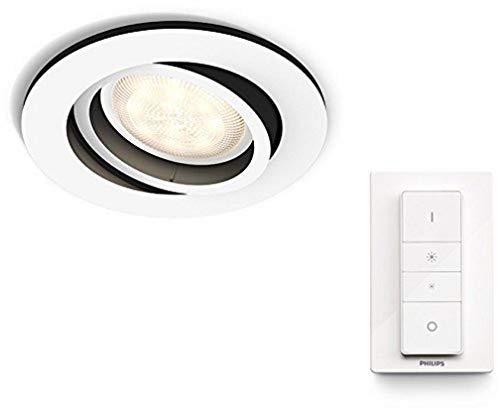 Philips Hue Milliskin Foco Inteligente LED Empotrable, GU10, 5.5 W con Mando, Luz Blanca Cálida a Fría, Compatible con Alexa y Google Home