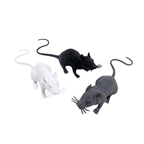 TOYMYTOY Giocattolo Realistico Topi Giocattolo spettrale Ratto Giocattolo Halloween Prank per Decorazione di Halloween (Nero Bianco Grigio) - 3pz
