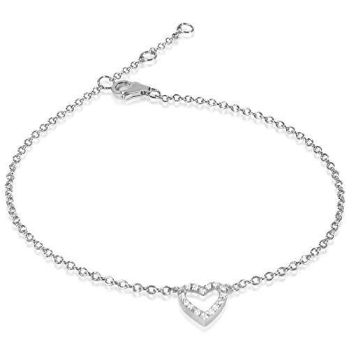 MILLE AMORI ∞ Pulsera Mujer Oro y Diamantes , longitud ajustable 18/17/16 cm - Oro Blanco 9 Kt 375 ∞ Diamantes 0.06 Kt