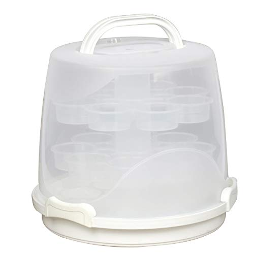 3-Tier Cake Carrier 24-Cupcake Holder with Locking Lid and Handle...