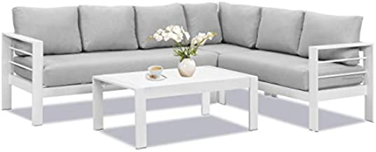 Wisteria Lane Patio Furniture Set, Outdoor Aluminum Sectional Sofa Couch with Coffe Table, All-Weather Metal Conversation Set with Upgraded Light Grey Cushion