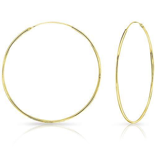 DTPsilver® Orecchini a Cerchio/Creoli - Argento 925 placcato in Oro Giallo - Piccoli/Medi/Grandi - Spessore 1.2 mm - Diametro 80 mm