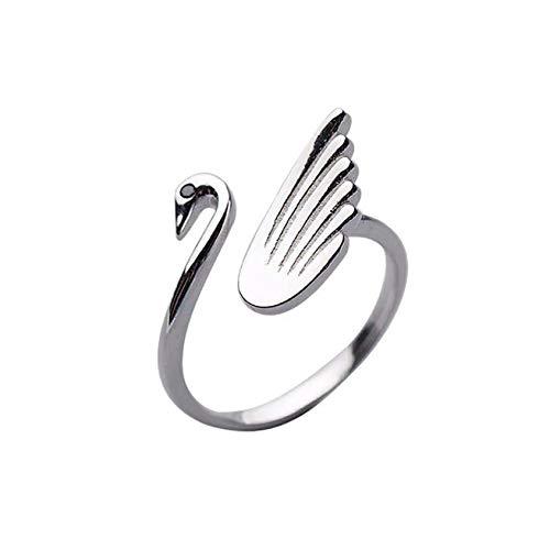 TinaDeer Anillo de ganchillo ajustable para tejer en forma de cisne Anillo trenzado de aleación Herramientas de tejer dedal, suministros de hilo para mujer (plata, 1 unidad)