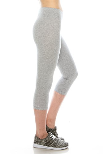 Cotton Spandex Basic Knit Jersey women capri leggings H.Gray L