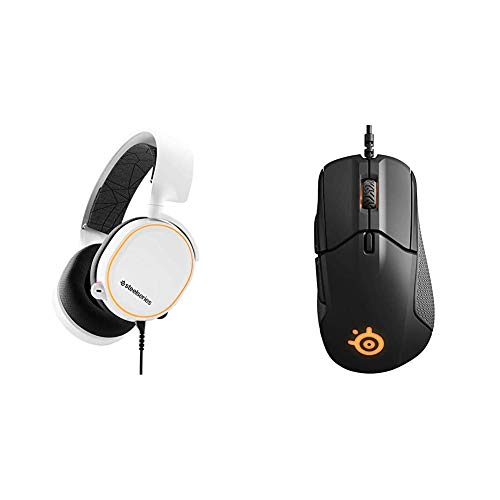 SteelSeries Arctis 5 (Gaming Headset, RGB-Beleuchtung, DTS Headphone:X v2.0 Surround) weiß & Rival 310, optische Gaming-Maus, RGB-Beleuchtung, 6 Tasten, seitliche Gummigriffe, Farbe schwarz