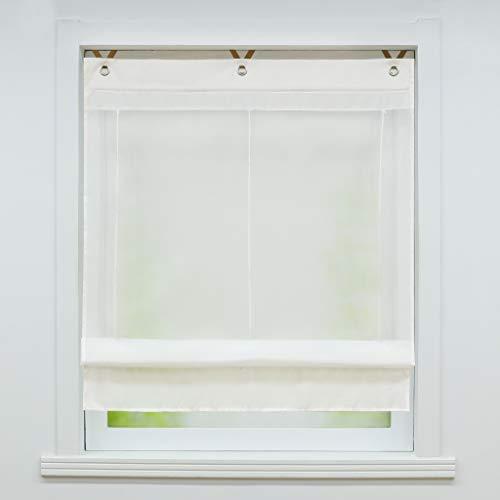 Joyswahl Voile Ösenrollo Transparenter Raffrollo mit Farbiger Blende »Irene« Schals Fenster Gardine mit Hakenaufhängung, ohne Bohren BxH 80x155cm Weiß 1 Stück