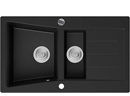 PRIMAGRAN Fregadero de Granito - Madrid, Lavabo Cocina 1,5 Senos + Sifón Automático, Fregadero Empotrado 88 x 52 cm, Negro