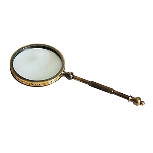 Lupa vintage 10 aumentos, lupa lectura mano con lente óptica Mango metal latón para lectura, personas mayores, visiones bajas, libros, periódicos, mapas, monedas, joyas, pasatiempos, manualidades