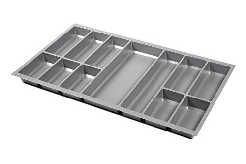 noveo Besteckkasten für Schubladen - Silber metallic | 500er Korpustiefe - passgenau für Nobilia UVM (473,5 x 793mm (90er Korpusbreite))