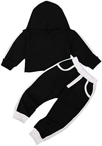 Niño bebé niño niña Sudaderas con Capucha chándales Color sólido Sudadera con Capucha suéter Pantalones Largos chándal 2 Piezas Conjunto de Trajes (Black,2-3 Año)