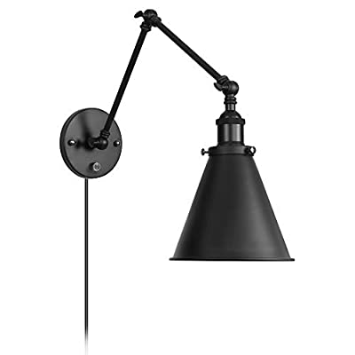 Industrial WallLight Black Paint FinishPluginAdjustableArmswithOn/OffSwitchforBedroomWallSconceFixtureMetalPlug-inWallLamp (1-Light)