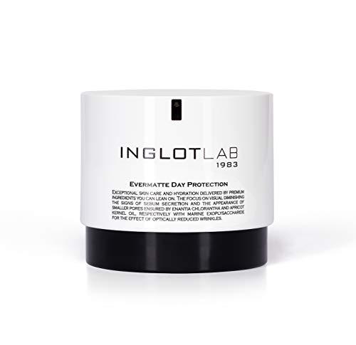 Inglot Lab Evermatte Day Protection Gesichtscreme, sorgt für gut mattierte Haut und sichtbare Feuchtigkeit, mit Coenzym Q10, Aprikosenkernöl und Enantia Chlorantha...
