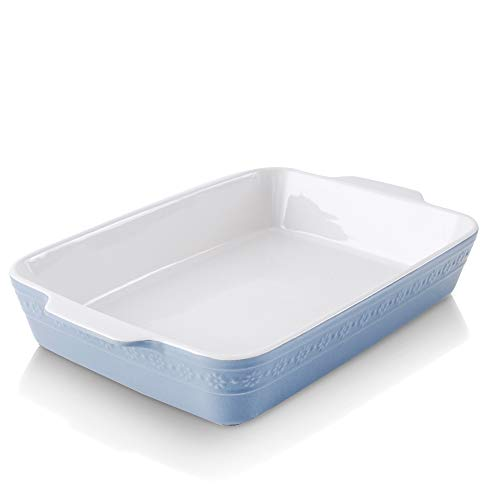 KOOV Individual Lasagne Pan Deep, Rectangular 9x13 Baking Dish, Ceramic Baking Dish, Bakeware for Tapas, Roasting, Casserole Dish for Oven, Daisy Series (Haze Blue)