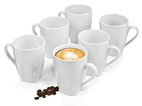 Sänger Kaffeebecher Set Bilgola 6 teiliges Becher Set für 6 Personen aus Porzellan, Tee-Becher Füllmenge: 350 ml, erweiterbar, Alltag, Frühstück, Outdoor Becher-Service für Kaffee, Tee oder Kakao