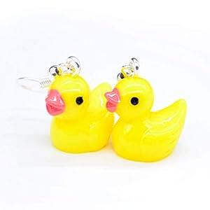 Cute Yellow Rubber Duck Duckie Ducks Earrings