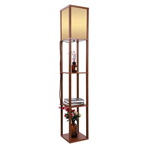 Stehlampe, 220V Stehleuchte Standleuchten aus Eichenholz mit Regaleinheiten, Anzug für Wohnzimmer und Arbeitszimmer, 26 * 26 * 159cm (Braun)