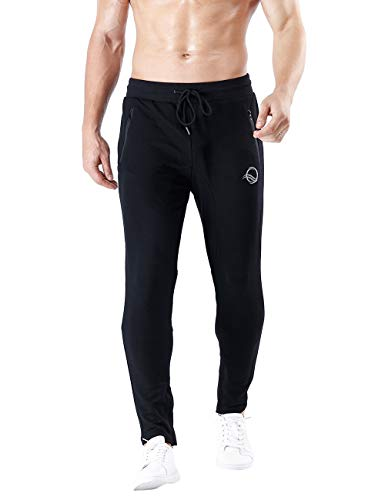 QRANSS Men's Athletic Pants Soccer Training Running Pants Casual Gym Fitness Trouser