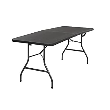 Cosco Deluxe 6 foot x 30 inch Fold-in-Half Blow Molded Folding Table, Black