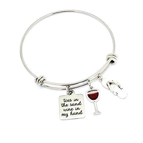 Toes in the Sand Wine in My Hand, Wine Bracelets, Beach Jewelry, Beachy Gifts Bangle Charm Bracelet
