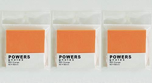 プリントインフォームジャパン gnotes 粘着力と糊面積アップふせん 「POWERS」 60×60mm 【3個セット】 (オレンジ)