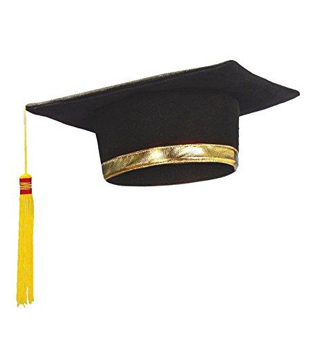 Widmann 3397l–Hut Absolvent mit goldenen Stirnband und Schwanz, gelb