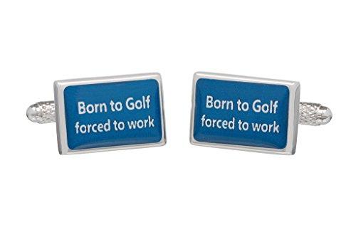 """Golf-Manschettenknöpfe, """"Born to golf Forced To Work""""in Onyx-Kunst mit Box"""
