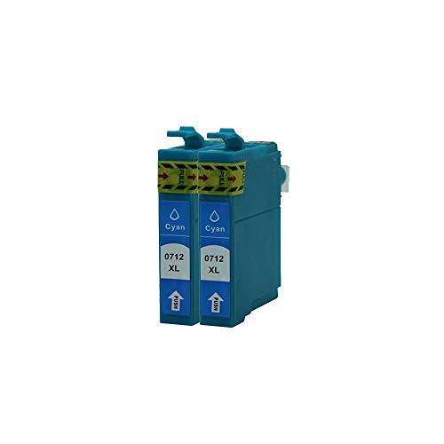 ZYL - 2 cartuchos de tinta cian compatibles con Epson T0715 T0712 Epson Stylus SX610FW SX515W DX8400 DX8450 DX9400 DX9400F DX7400 DX7450 DX4400 DX4450 CX4300 D5050 D78 D92 DX400 DX4000 DX4050 DX5000 DX5050 DX5050