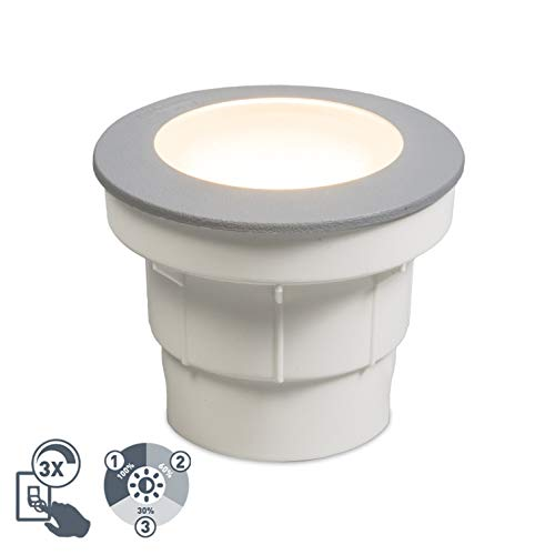 QAZQA Modern Grey Moderner Außenbodenstrahler mit LED IP67 - Dieser Kunststoff Grey Round GX53 max. 1 x 3 Watt / Garten / Beleuchtung / Licht / Beleuchtung
