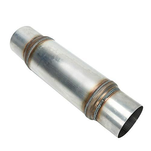 BLACKHORSE-RACING 4 Inch Inside Inlet Outlet Muffler, Universal Mechanical Welded Muffler Exhaust Deep Sound for Cars, 18' Overall Length