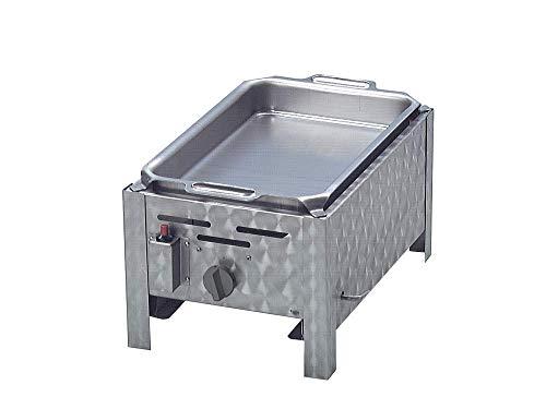 bessergrillen.de Gasgrill 1-flammig mit 3,6 KW regelbar als Tischgerät aus Edelstahl mit Pfanne aus Stahl Gasschlauch Regler Flüssiggas ideal für Privat Verein Gewerbe in top Qualität