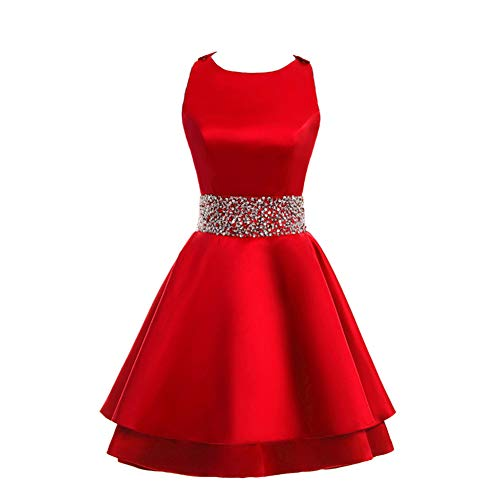 MEILISAY Womens Crew Beading Prom Dresses Short Sequined Homecoming Dresses for Teens Mini Cocktail Dresses LF-130 Red US20W