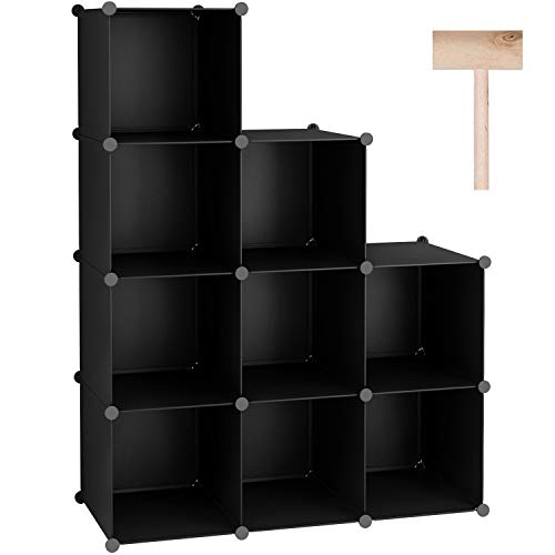 """C&AHOME Cube Storage with Doors, 6-Cube Storage Organizer, Plastic Closet Cabinet, Modular Book Shelving Units, Storage Shelf, Ideal for Home, Office, 36.6""""L x 12.4""""W x 36.6""""H Translucent White"""
