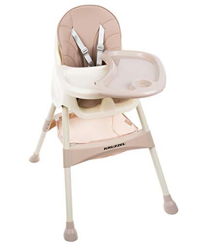 KRUZZEL Hochstuhl für Babys Verstellbar Klappbar Tisch 5-Punkt Gurt 12060, Farbe:Rosa