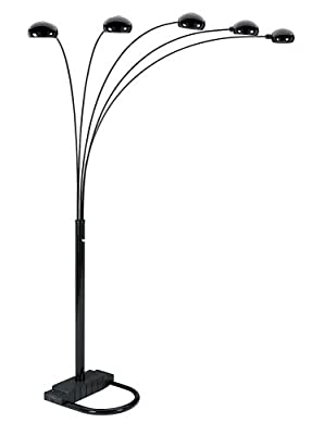 ORE International 6962BK 5 Arm Arch Floor Lamp, Black