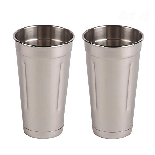 (Set of 2) 30 oz Stainless Steel Malt Cups by Tezzorio, Professional Blender Cups, Milkshake Cups, Cocktail Mixing Cups
