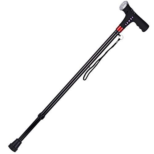 sharprepublic Bastón para Caminar Plegable con Luz LED Reproductor De MP3 / Radio, Bastón Ajustable para Padres Padres Regalos 🔥