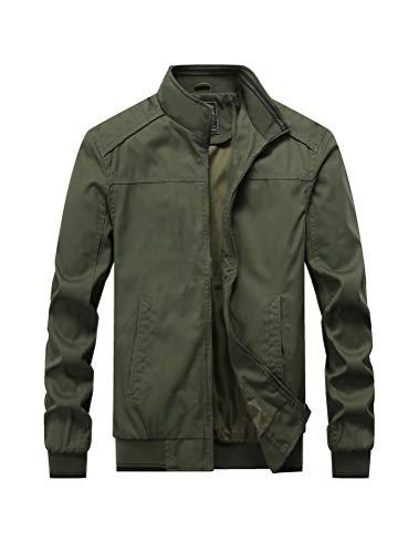 PASOK Men's Cotton Military Jackets Lightweight Outdoor Coat Stand Collar Windbreaker Field Jacket Army Green S