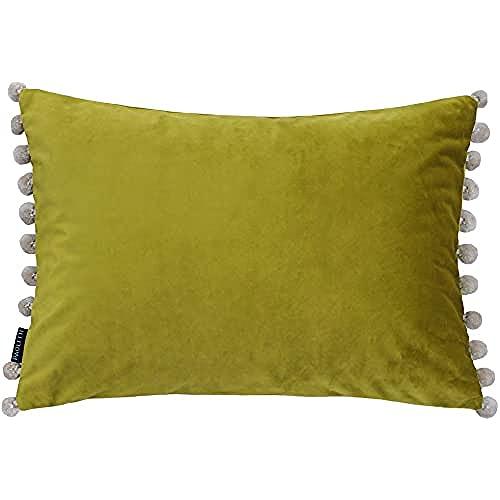 "Paoletti Bambú/Natural Riva Fiesta Rectangular Cojín Verde Beige Pompom Bordes-Faux Velvet-Reversible-Cierre De Cremallera-100% Polyester-35 X 50Cm (14"" X 20"" Pulgadas), poliéster, 35 x 50 cm"