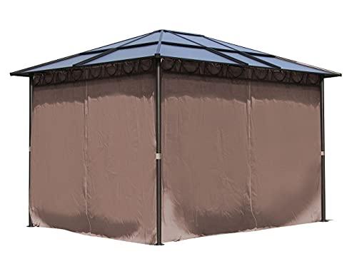 QUICK STAR Metall Garten Hardtop Pavillon 3x3,6m Doppelstegplatten Polycarbonat Dach Partyzelt Pergola mit 4 Seitenteilen