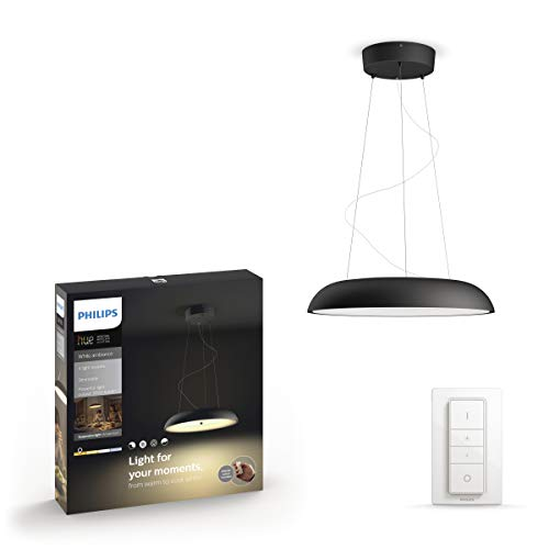 Philips Lighting Hue Amaze Lampada a Sospensione Smart, LED Integrato, 39 W, Nera, con Telecomando Lighting Dimmer Switch Incluso, 43.4 x 43.4 x 140 cm