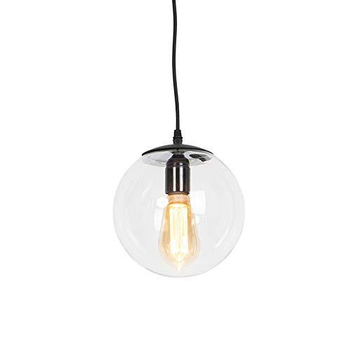 QAZQA Moderne Suspension/Lustre/Luminaire/Lumiere/Éclairage moderne transparente 20 cm - Pallon verre/Acier Transparent,Noir Globe/Oblongue E27 Max. 1 x 25 Watt/intérieur/Salon/Cuisine