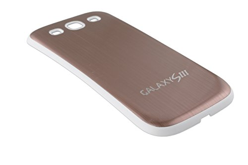 Urcover® Aluminium Akkudeckel kompatibel mit Samsung Galaxy S3 Batteriedeckel Aluminium Gehäuse Batterie Rückabdeckung Hülle Schale Weißer Rahmen Braun