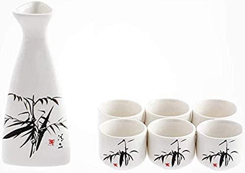Mnjin Exquisites 5-teiliges Japanisches Sake-Set, Servierset mit weißem Sake, Bambus-Tuschemalerei, für kalten/warmen/heißen Sake/Shochu/Tee, Familie und Freunde Sake-S