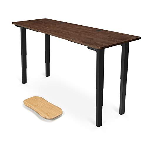 UPLIFT Desk - V2 Dark Brown Rubberwood Solid Wood Desktop Standing Desk, 4-Leg Height Adjustable Frame (Black), Adv. Memory Keypad & Wire Grommets (Black), Bamboo Motion-X Board (80' x 30')