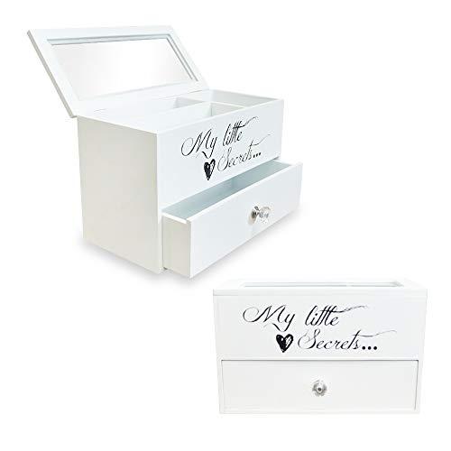 DRULINE Schmuckkasten Schmuckbox My Little Secrets mit Schublade zur Aufbewahrung aus Holz mit 2 Ebenen für Ketten Geschenk für Frauen und Mädchen | JBC232GY | L x B x H 25 x 12 x 16 cm | Weiß