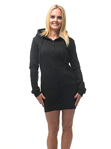 ROCK-IT Apparel® Vestido de Sudor de Mujer con Cremallera y Capucha - Sudadera Larga con Capucha Talla XS-XXL - Negro Suave XS