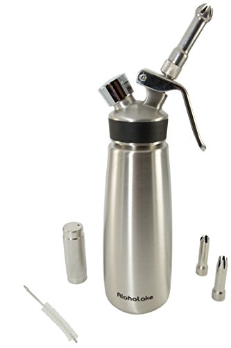 Stainless Steel Cream Whipper- gourmet whip cream dispenser warm or cold- dishwasher safe- new model - 1-pint for pro or home kitchen whipped toppings & culinary foam.