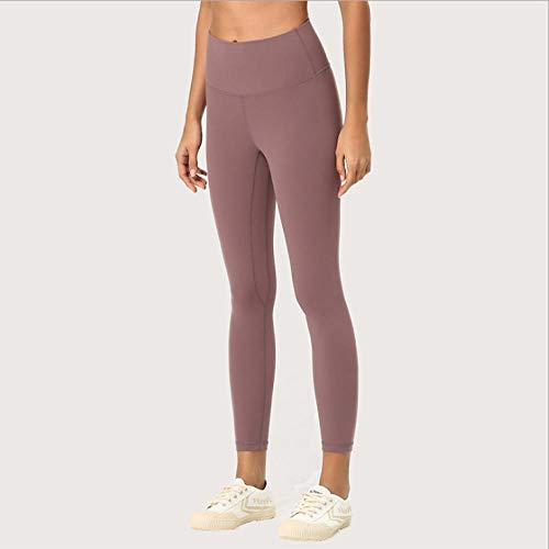 AMZOLNE Pantalones de Yoga de Doble Cara agradables con la Piel Noveno pantalón de Mujer Medias de Cadera de Mujer Pantalones de Yoga de Control de Barriga de Cintura Alta-Burro_S