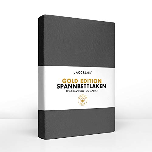 Jacobson Gold Edition Jersey Spannbettlaken Spannbetttuch Baumwolle mit ELASTAN ca. 200 g/m² (Topper 140-160x200 cm, Anthrazit)